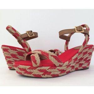 Tory Burch Camelia Red Platform Espadrille Sandals